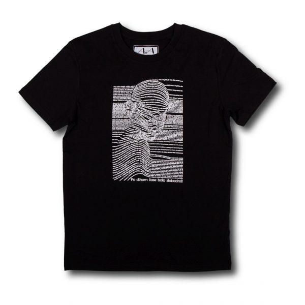 Čierne tričko s potlačou a krátkym rukávom