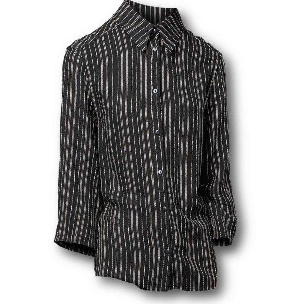 Čierna pásikavá košeľa s dlhým rukávom