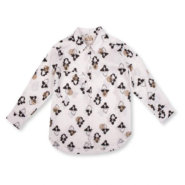 Biela vzorovaná košeľa s dlhým rukávom