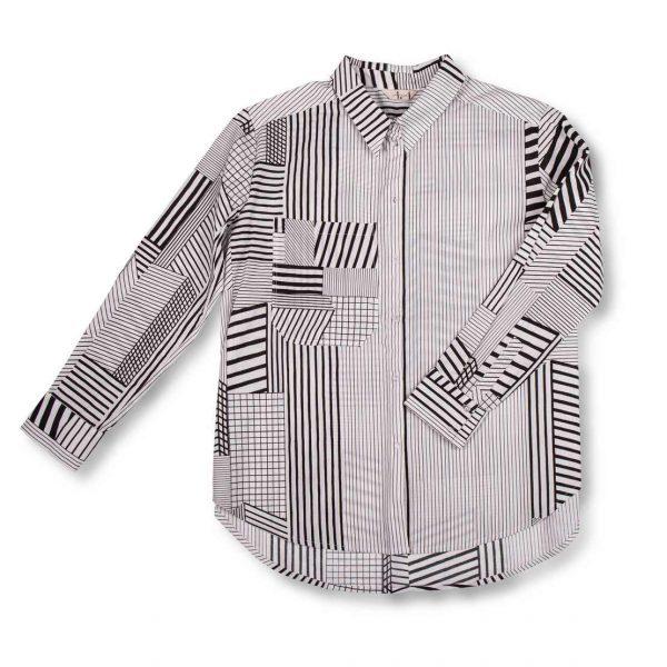 Čierno-biela vzorovaná košeľa s dlhým rukávom