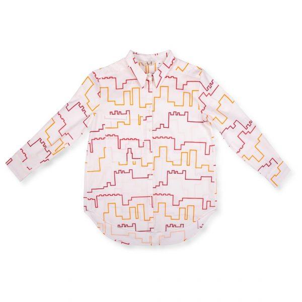 Biela košeľa s červeno-žltým vzorom