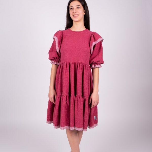 Ružové mušelínove šaty objednáte online na SLOVFLOW