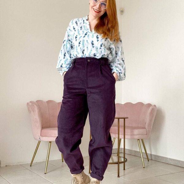 Menčestové mrkové nohavice v slivkovej farbe