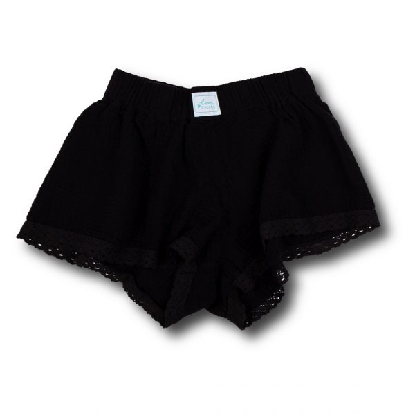 Krátke čierne pyžamové nohavice