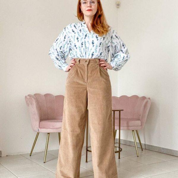 Béžové menčestrové nohavice široké objednáte na SLOVFLOW