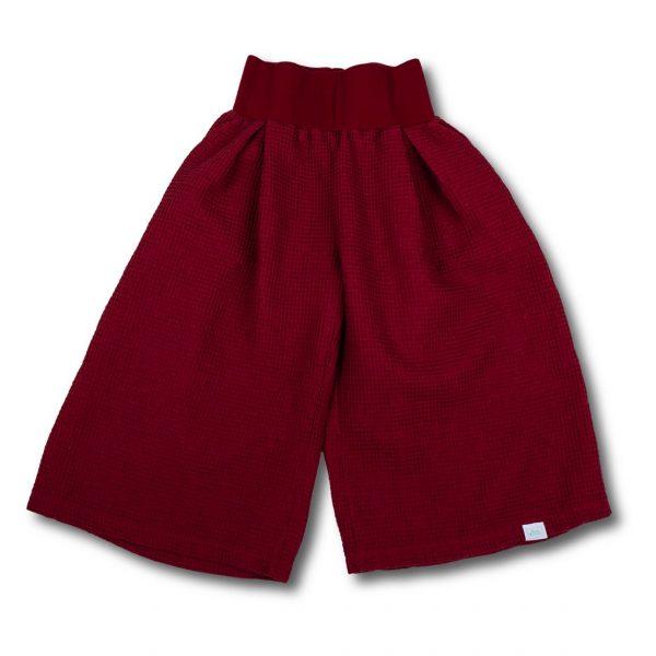 Bordové trojštvrťové nohavice