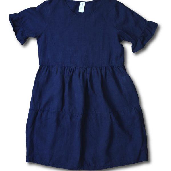 Modré ľanové šaty s riasením miljö