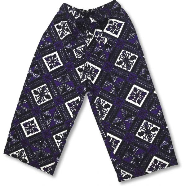 Detail na fialové bavlnené nohavice Ravenala Design