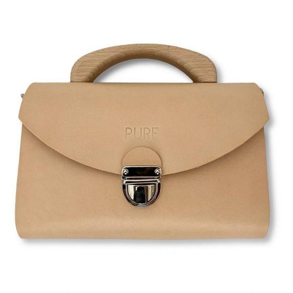 Béžová kožená kabelka s drevenou rúčkou PURE