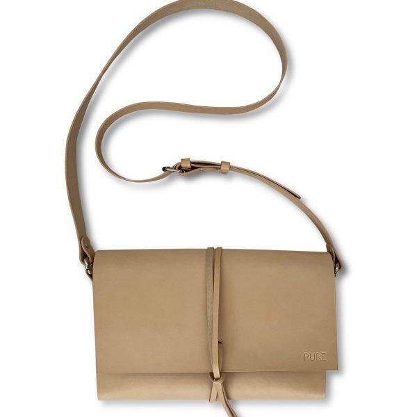Crossbody kabelka PURE v prírodnej farbe kože