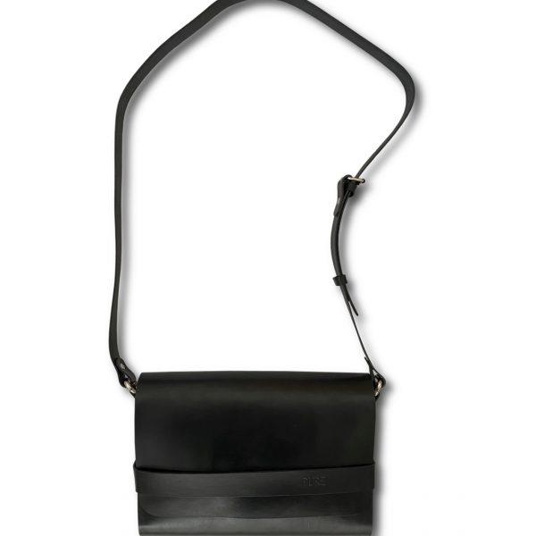 Čierna kožená crossbody kabelka PURE