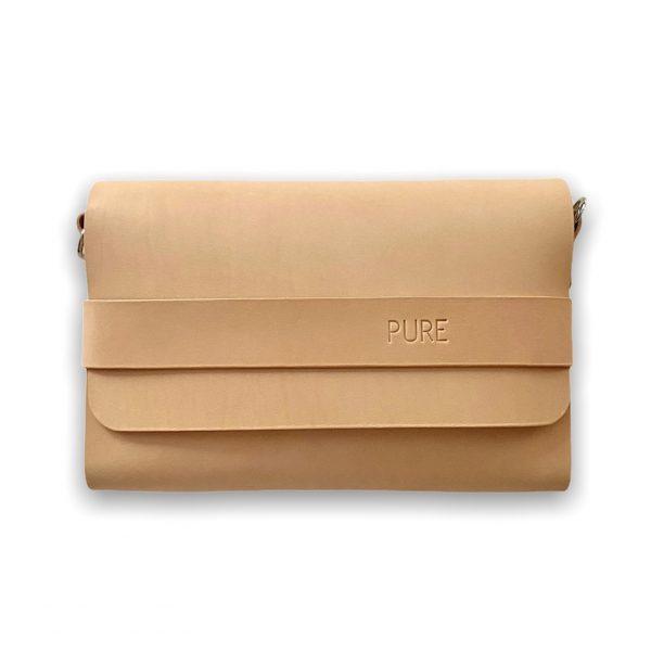 Béžová kožená kabelka PURE