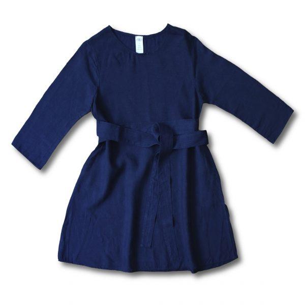 Modré ľanové šaty s opaskom na viazanie miljö