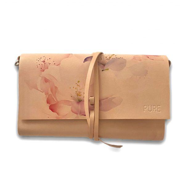 Béžová kabelka s potlačou ruží PURE