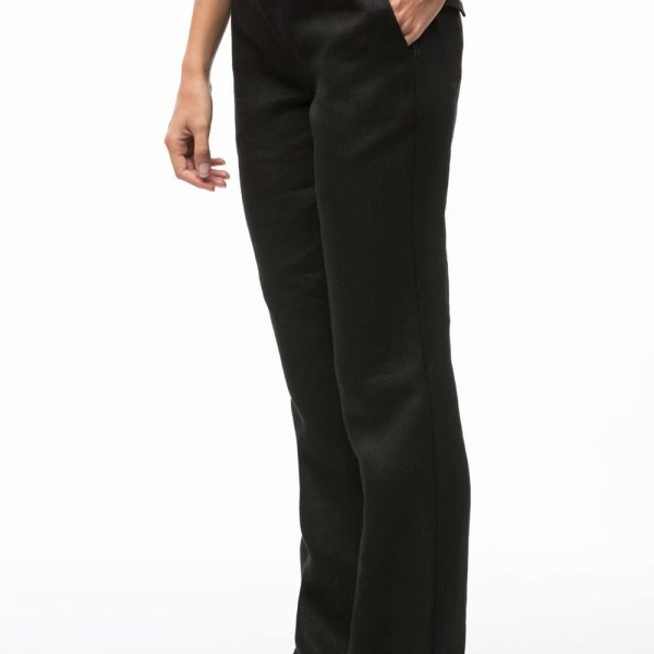 Čierne dlhé dámske nohavice regular fit z konope