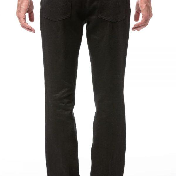 Klasické čierne pánske nohavice z konope zozadu