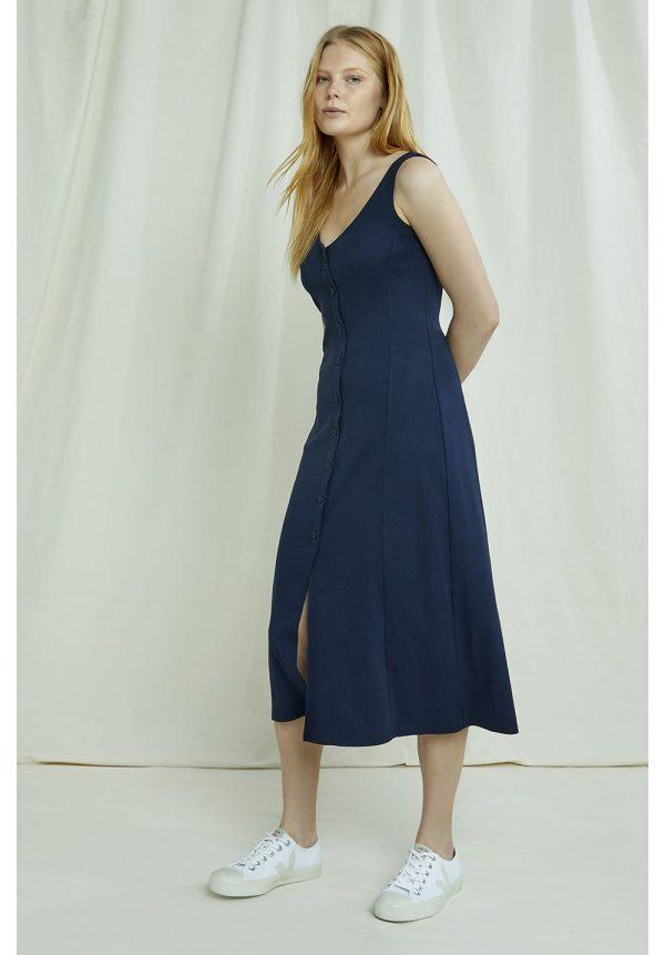 Modré šaty na leto z certifikovanej GotS bavlny objednáte online na SLOVFLOW