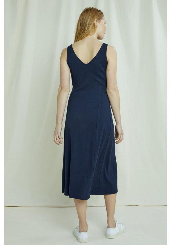Midi šaty rebrované z organickej bavlny bez rukávov s výstrihom na chrbte