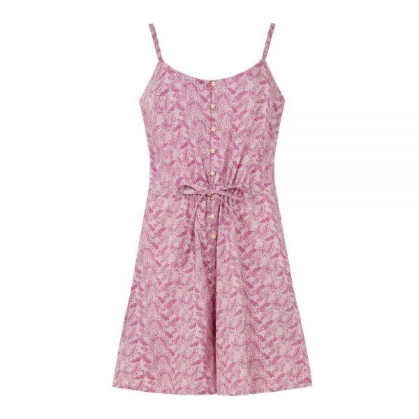 Krátky overal ružový na ramienka z organickej bavlny