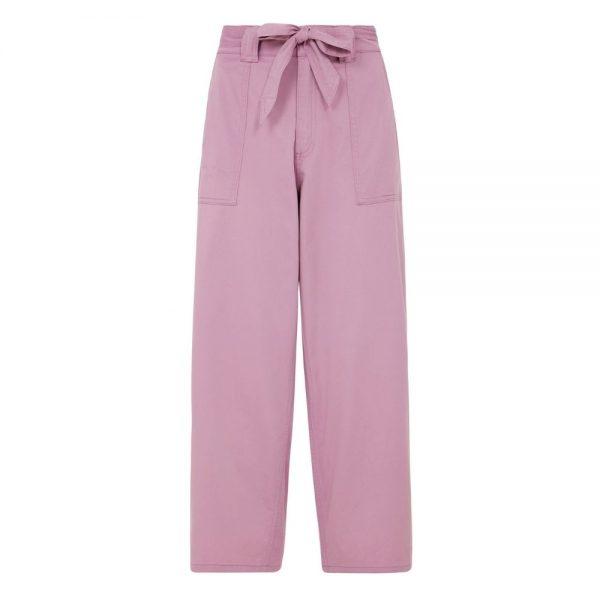 Dlhé ružové nohavice na mašličku s hbokými vreckami a z certifikovanej GOTS bavlny objednáte online na SLOVFLOw