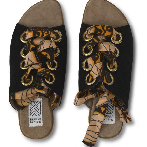 Čierne kožené sandále s farebnými stužkami na šnurovanie