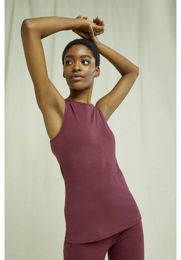 Bordové tielko na jogu z organickej bavlny objednáte online na SLOVFLOW
