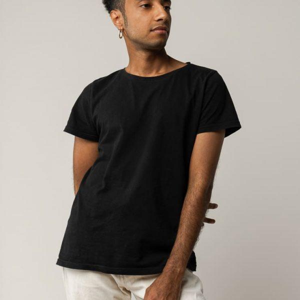 Čierne bavlnené tričko certifikované pre mužov