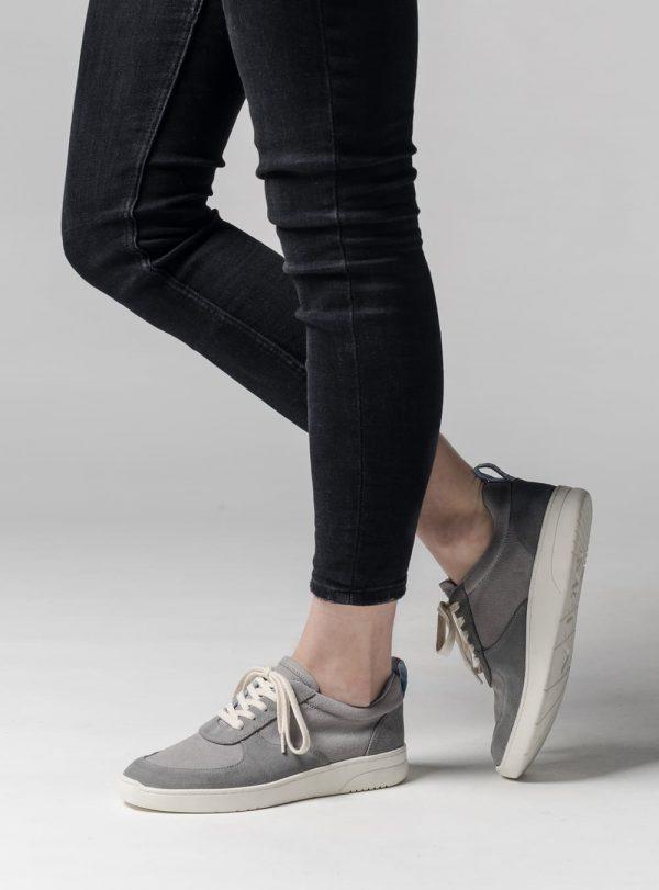 Kožené tenisky pre ženy sivé