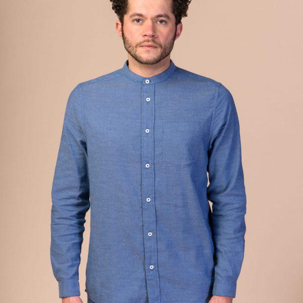 Modrú pánsku košeľu z organickej faitrade bavlny objednáte online na SLVOFLOW