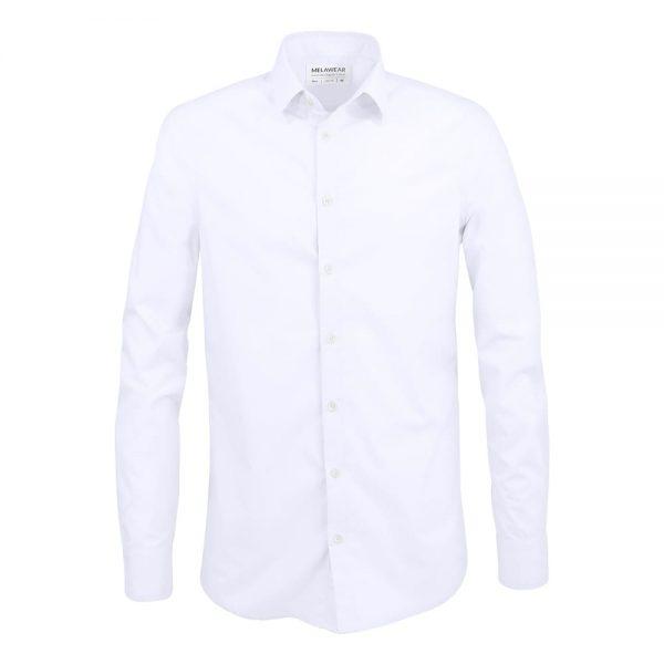 Biela pánska košeľa slim fit z organickej bavlny s dlhými rukávami a kentovým golierom