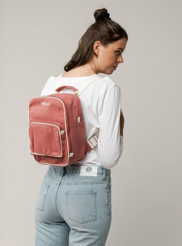 Ružový malý ruksak pre ženy z organickej fairtrade bavlny od Melawear