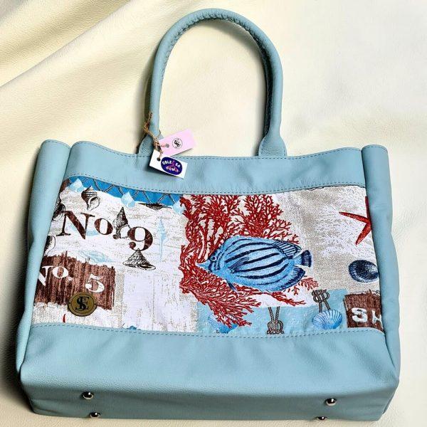 Shopper kabelka v kombinácii koža a vzorovaná látka